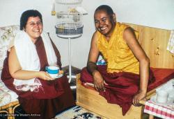 (39479_sl-3.psd) Lama Yeshe with Siliana Bosa, Istituto Lama Tzong Khapa, Italy, 1981.