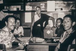 (39482_pr-3.psd) Karuna Cayton, , Pam Cayton , Nick Ribush, Thubten Tsering, and Lama Lhundrup, Kopan office, Kopan Monastery, Nepal, 1979.