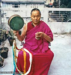 (39541_pr-3.tif) Lama Yeshe practicing chod on the roof of Tara Hotel, Darjeeling, India, 1982.