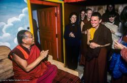 (39556_sl-3.jpg) Thubten Wongmo (Feather Meston) entering retreat, Tushita Retreat Centre, Dharamsala, India, 1983.