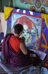 (20_57.JPG) Jampa Chökyi painting Tara Cittamani thangka, Tushita Retreat Centre, Dharamsala, India, 1982.