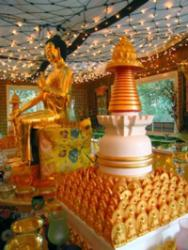 Holy objects at Lama Zopa Rinpoche's house in Aptos, California.