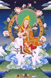 Lama Tsongkhapa riding a white elephant. This was one of five visions that appeared to his disciple, Khedrub Je.