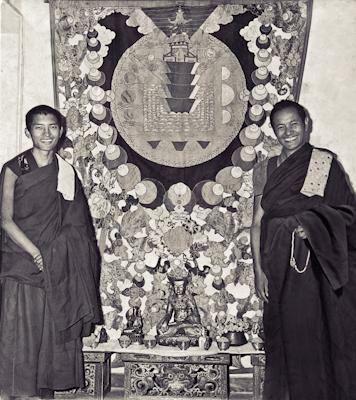 Lama Zopa Rinpoche and Lama Yeshe with a mandala applique thangka, Kopan Monastery, 1970.