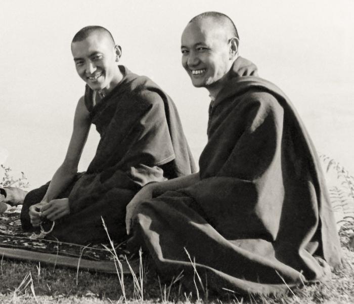 Lama Zopa Rinpoche and Lama Yeshe at Kopan, 1977.