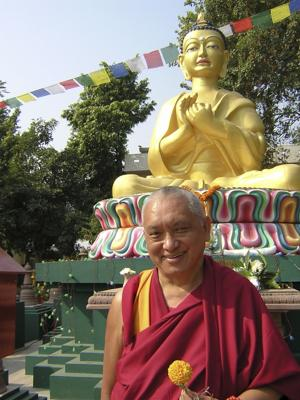 Lama Zopa Rinpoche at Root Institute, Bodhgaya, 2000. Photo: Brian Halterman.