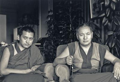 Lama Zopa Rinpoche and Lama Yeshe in Geneva, Switzerland, 1983. Photo: Ueli Minder.