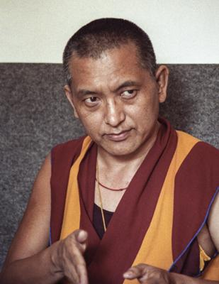 Lama Zopa Rinpoche, possibly in Switzerland, 1990. Photo by Ueli Minder.