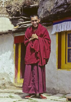 Lama Zopa Rinpoche in front of the Lawudo Lama's cave at Lawudo Retreat Centre, Nepal, 1978. Photo: Ueli Minder.