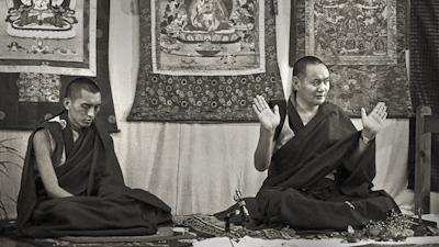 Lama Yeshe and Lama Zopa Rinpoche at Royal Holloway College, England, 1975. Photo: Dennis Heslop.