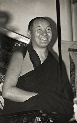 Lama Yeshe giving a public talk at Kensington Town Hall, England, 1975.