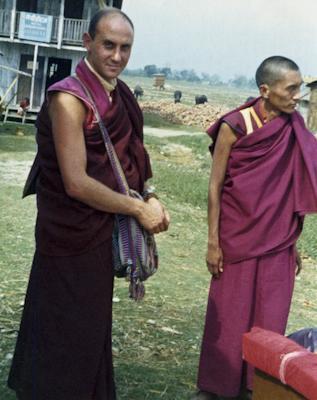 Lama Zopa Rinpoche and Nick Ribush, Bhadrapur, East Nepal, February 22, 1975. Photo: Lama Yeshe.