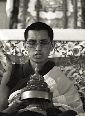 Lama Zopa Rinpoche offering a mandala at the Ninth Meditation Course, Kopan Monastery, Nepal, 1976.