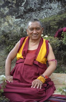Lama Zopa Ripoche at Lawudo Retreat Centre, Solu Khumbu, Nepal. Photo: Roger Kunsang