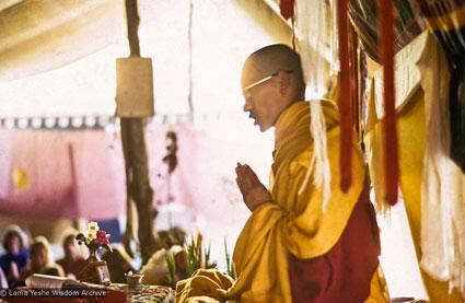 Lama Zopa Rinpoche teaching during the Fifth Meditation Course, Kopan Monastery, Nepal, 1973.