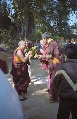 Lama Yeshe arriving for final teaching at Kopan Monastery, Nepal, 1983. Photo: Wendy Finster.