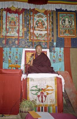 Lama Yeshe's final teaching at Kopan Monastery, Nepal, 1983. Photo: Wendy Finster.