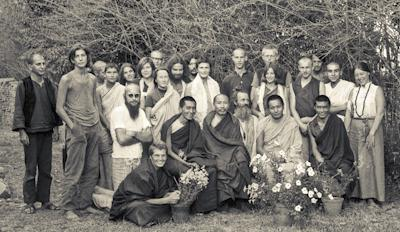 Group photo from the first meditation course held at Kopan Monastery, Nepal, April 1971. Photo: Fred von Allmen.