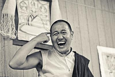 Lama Yeshe at Lake Arrowhead, California during the first American course in 1975. Photo by Carol Royce-Wilder.