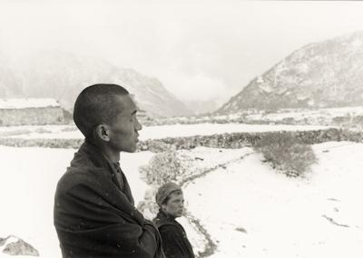 Lama Zopa Rinpoche and Zina Rachevsky at Lawudo Retreat Center, Nepal, 1969. Photo: George Luneau.