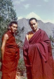 Lama Zopa Rinpoche and Lama Yeshe, Dharamsala, ca 1972.