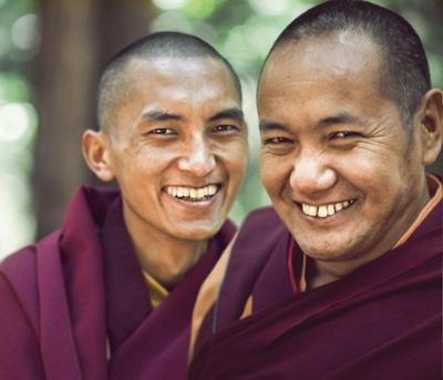 Lama Zopa Rinpoche and Lama Yeshe, USA, 1975. Photo: Carol Royce-Wilder