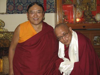 His Holiness Sakya Trizin with Lama Zopa Rinpoche.
