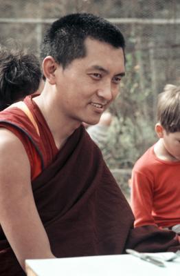 Lama Zopa Rinpoche in Bodhgaya, India, 1982. Photographer: Ina Van Delden.