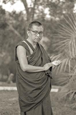 Lama Zopa Rinpoche at Chenrezig Institute, Australia, 1991.