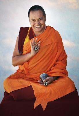 Lama Yeshe, Yucca Valley, California, 1977. Photo by Carol Royce-Wilder, retouching by David Zinn.