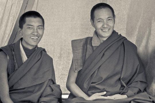 Lama Zopa Rinpoche and Lama Yeshe in a tent at Syangboche, Solu Khumbu, 1972.