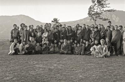Lama Yeshe, Lama Zopa RInpoche and students at the Third Kopan Meditation Course, Nepal, December 1972. Photo donated by Adele Hulse.