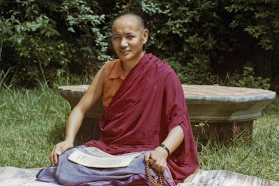 Lama Yeshe studying at Kopan Monastery, Nepal, 1974. Photo: Robbie Solick.