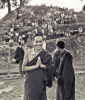 Lama Yeshe with students at the Fourth Meditation Course, Kopan Monastery, Nepal, 1973.