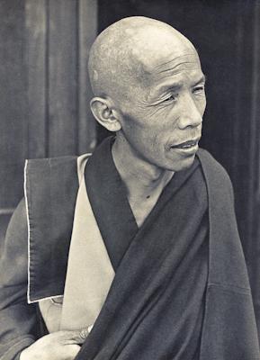 Lama Lhundrup Rigsel at Kopan Monastery, Nepal, possibly in 1973.