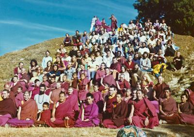Lama Yeshe and Lama Zopa Rinpoche with students at the Seventh Meditation Course, Kopan Monastery, 1974. Photo: Wendy Finster.