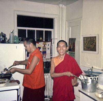 Lama Yeshe in the kitchen with Lama Zopa Rinpoche, New York City, 1974. Photo: Robbie Solick.