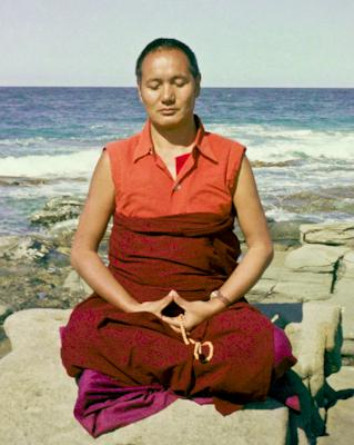 Lama Yeshe meditating by the ocean at Maroochydore, Australia, 1974.