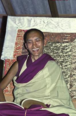 Lama Zopa Rinpoche teaching at Chenrezig Institute, Queensland, Australia 1975.