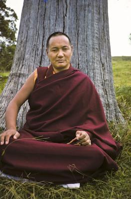 Portrait of Lama Yeshe on Saka Dawa, Chenrezig Institute, Australia, 1975. Photo donated by Wendy Finster.