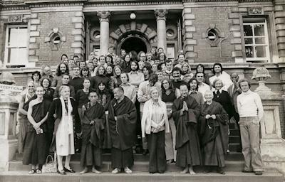 Lama Yeshe and Lama Zopa RInpoche with students at Royal Holloway College, England, 1975. Photo: Dennis Heslop.