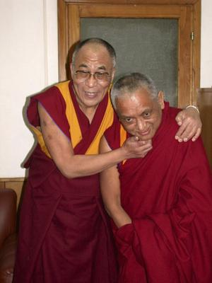 His Holiness the 14th Dalai Lama with Kyabje Lama Zopa Rinpoche.
