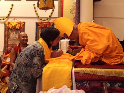 Tenzin Ösel Hita offering to Lama Zopa Rinpoche during long-life puja, Singapore, Mar 2016.  Photo: Lobsang Sherab.