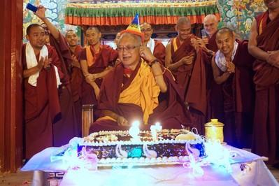 Monks wishing Lama Zopa Rinpoche a happy birthday at Kopan Monastery, Nepal, December 2016. Photo: Ven. Lobsang Sherab.