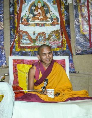 Lama Zopa Rinpoche teaching at the 12th Meditation Course at Kopan Monastery, Nepal, 1979. Photo: Ina Van Delden.