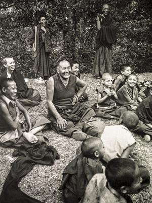 Lama Yeshe and the Mount Everest Centre boys enjoying a picnic at the Hindu water gardens, Kathmandu, Nepal, 1979.