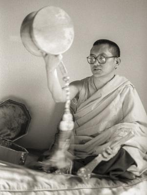 Rinpoche doing chod offering practice at Jamyang Buddhist Centre (formerly Manjushri London) London, 1983. Photo by Robin Bath.