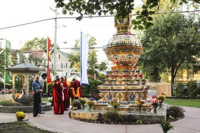 Lama Zopa Rinpoche blessing the Kalachakra Stupa at the Kurukulla Center, MA, 2010. Photo: Wendy Cook.