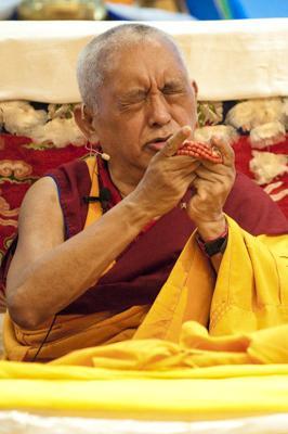 Lama Zopa Rinpoche at Maitripa College, 2010. Photo: Marc Sakamoto.
