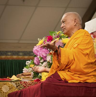 Lama Zopa Rinpoche teaching at the Light of the Path retreat, North Carolina, USA, 2014. Photo: Roy Harvey.